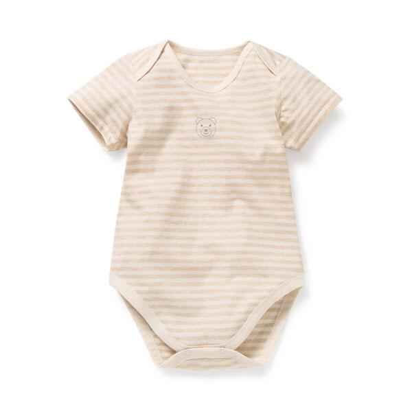 Asta Organic Thick Striped Short Sleeve Bodysuit