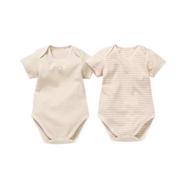 Asta Organic Mixed Stripes Short Sleeve Bodysuit Collection - 2 Pack