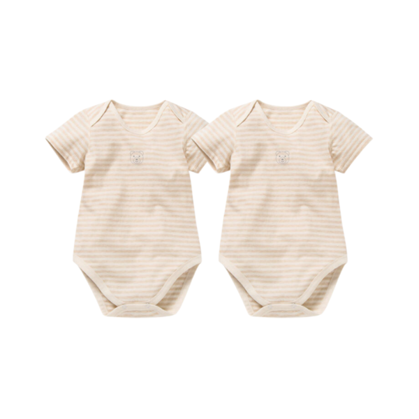 Asta Organic Thick Striped Short Sleeve Bodysuit Collection - 2 Pack