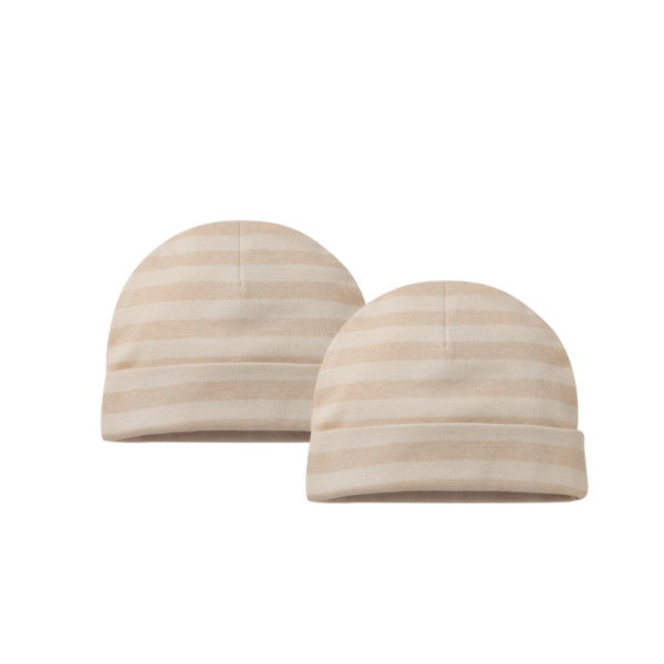 Sandy Brown Striped Beanie Knitted Baby Hats - 2 pack