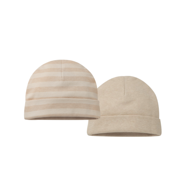 Sandy Brown Striped & Oat Coloured Beanie Knitted Baby Hats - 2 pack