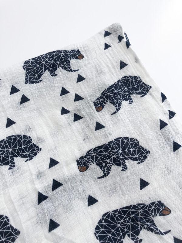 Bjarni Organic Bear Black And White Sensory Muslin Swaddle